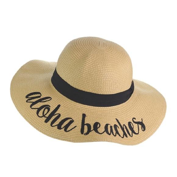 09a7ea219 Aloha Beaches Summer Embroidered Floppy Hat NWT